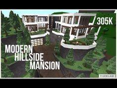 Bloxburg Modern Hillside Mansion Speed Build 305k Inspiration Build Youtube In 2020 Mansions Two Story House Design House Blueprints
