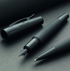 Faber-Castell Fountain Pen e-motion Pure Black The black, exquisitely guilloché aluminium barrel is combined with black matt chrome for a sleek look. The black PVD-coated stainless steel nib completes the 'pure Black' e-motion series.