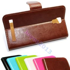 """Pu Leather Wallet Folio Case Cover For 6"""" 5"""" Polaroid A600 Link A6 A5 Smartphone"""
