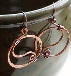 Yin Yang Rustic Copper Hammered Hoop Earrings