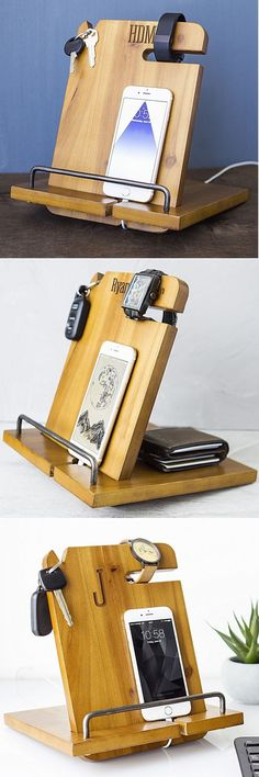 The ultimate gift for groomsmen's man cave, your son or brother's dorm room, or as a desktop organizer for the home or corporate office, this wood nightstand organizer and mobile docking station personalized with a name or single initial has a place for those items most personal and important including wallet, watch, keys, and mobile phone, or tablet. This docking station can be ordered at http://myweddingreceptionideas.com/personalized-mens-wood-nightstand-docking-station.asp