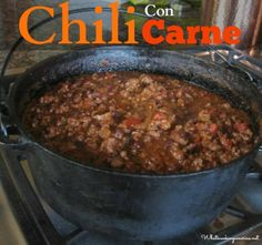 Homemade Chili Con Carne Recipe - Dutch Oven & Slow Cooker Instructions  |  whatscookingamerica.net. I know it's not soup, but its soup like, so it counts!