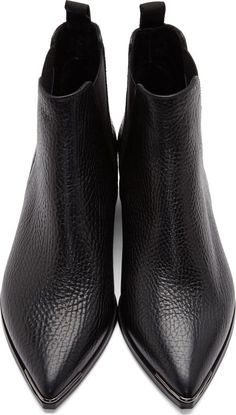 Acne Studios Black Grained Leather Jensen Chelsea Boots
