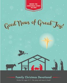 Make the Christmas story come alive for your children this Advent season! Good News of Great Joy is a simple devotional book that will help your family focus on the story of Jesus' birth, who he is, and why he was sent by God to be with us. The discussion questions and wide range of activities are designed for children ages 2-11. Any parent can lead this!