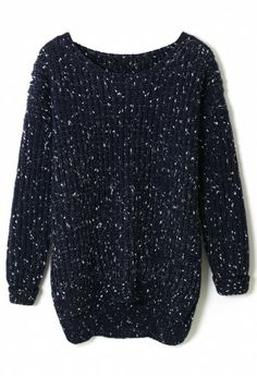 White Dots Chunky Knit Sweater in Navy