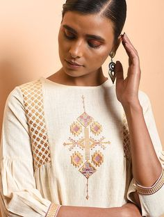 Ivory Cotton Khadi Embroidered Dress with Gathers Embroidery Suits Punjabi, Embroidery On Kurtis, Kurti Embroidery Design, Hand Embroidery Dress, Embroidery Fashion, Embroidered Kurti, Embroidered Clothes, Indian Embroidery Designs, Machine Embroidery Designs
