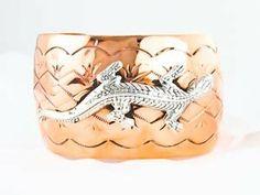 Wide Navajo Copper Silver Women's Gecko Bracelet Mesa Verde Traders, Inc.. $106.00