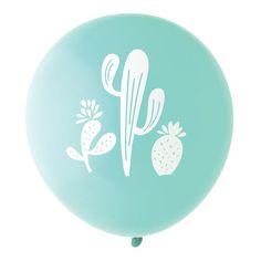Cactus Balloon, Aqua/White
