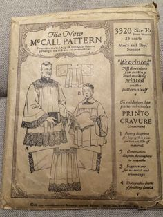 McCall's 3320 pattern for Men's and Boys Suplice, early 1900s