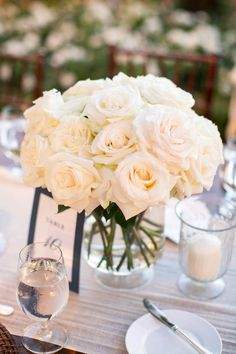 Beth Helmstetter is pure genius. Honestly, every single thing she touches I want to marry. Her design sense is off the charts, and this sparkling Beverly Hills wedding is the prettiest proof. Barn Wedding Decorations, Wedding Table Centerpieces, Wedding Flower Arrangements, Flower Decorations, Floral Arrangements, White Roses Wedding, Floral Wedding, Wedding Flowers, White Rose Centerpieces