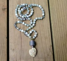 Kiwi Jasper knotted necklace Cypress Island by HarborGirlDesigns, $150.00