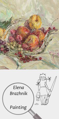 "Elena Brazhnik   Painting   Printable   Design   Interior   Instant Download   ""Berries"" (fragment)   Oil on Canvas Still Life Harvest Garden Red Pink Yellow Digital Image for Print   №LP-005"
