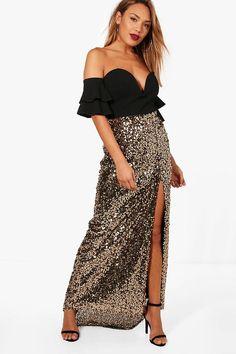 1356de9419fe Boutique Naomi Split Sequin Maxi Skirt Sequin Maxi, Fashion Sale, Boohoo,  Strapless Dress. Boohoo UK