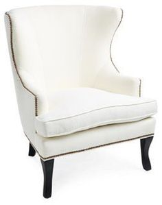 Thomas Linen Wingback Chair, Ivory