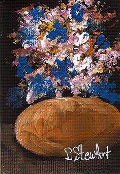 """ACEO, Acrylic Gold Pot with Bouquet of Flowers Original, Impressionistic Style"" - Original Fine Art for Sale - © Penny Stewart http://www.craftylady.com"