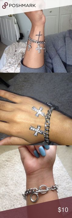 Cross Bracelet Dangling cross bracelet. No trades. Love Culture Jewelry Bracelets