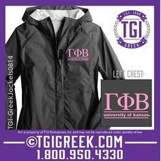 TGI Greek - Gamma Phi Beta - Rain Jacket  #tgigreek #gammaphibeta