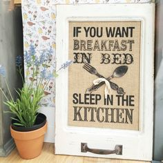 "Cartel Desayuno ""If you want breakfast in bed, sleep in the kitchen"" #maowdesignshop #coruña"