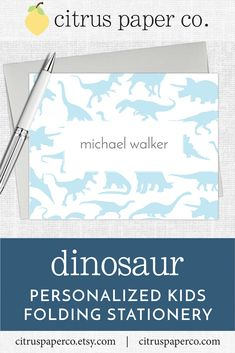 Personalized stationery, just for kids! Each set of folding note cards is printed on high-quality white cardstock, includes your choice of envelopes, and is packaged in a crystal clear box. Perfect for casual correspondence or thank you notes, these note cards make the perfect gift! \\ kids stationary \\ kids stationery \\ colorful name \\ personalized \\ dinosaurs \\ dino Kids Stationery, Custom Stationery, Note Cards, Thank You Cards, Match Font, Personalized Stationary, Papers Co, Folded Cards, Gift Tags