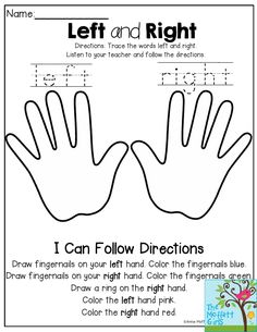 Left and Right- Listen to the teacher and follow the directions. This is such a fun activity to get students practicing following the directions. Perfect for back to school for Kindergarten!