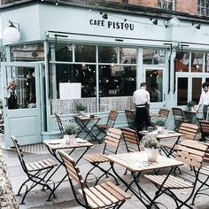 This colour. Café Pistou in Amsterdam Cafe Shop, Cafe Bar, Mein Café, Vitrine Design, Deco Restaurant, Outdoor Furniture Sets, Outdoor Decor, Cafe Design, Adventure Is Out There