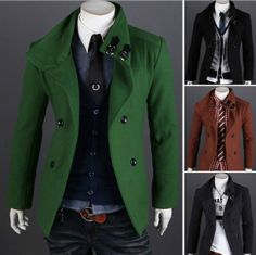 Slim Fitting Wool Pea Coat