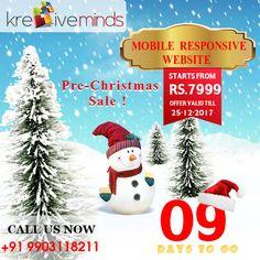 #PreChristmas #Sale  Website Design!! Hurry up (9 days to go) Contact us for more details @ +91 9163363931 Website: www.kre8iveminds.com
