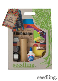 Start your colorful optical adventure with our Make Your Own Kaleidoscope Kit! There are endless possibilities for optical fun! www.seedling.com