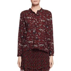 Etoile Isabel Marant Amaria Long-Sleeve Floral Blouse ($170) ❤ liked on Polyvore featuring tops, blouses, burgundy, women's apparel tops, red top, floral print blouse, red floral blouse, long sleeve red blouse and cotton blouse