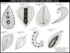 paisley leaf index - TUTORIALS by Quaddles-Roost on deviantART #tanglepattern #zentangle