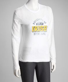 Take a look at this White Norte Dame Irish Tissue Tee - Women by OPL on #zulily today!  $9.99!!!