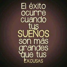 """""""El éxito ocurre cuando tus sueños son más grandes que tus excusas"""" / #Frases #Marketuando"""