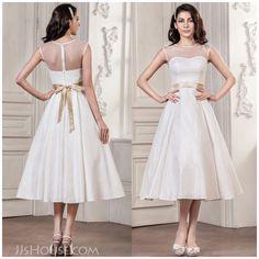 A tea-length charmeuse wedding dress is fantastic!
