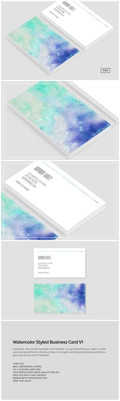 Watercolor Styled Business Card V1 by Design Co. on @creativemarket