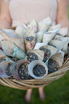 toss dried lavender instead of rice!! would smell beautiful, and if outdoor wedding i believe lavender keeps mosquitos away ;)