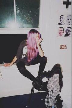 Pink punk grunge hair
