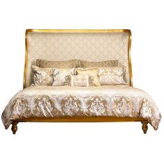French Heritage Passy Wing Gold Eastern Bed King Panel Beds ($5,665) ❤ liked on Polyvore featuring home, furniture, beds, king size bed, french wing bed, gold furniture, king headboard and french bed