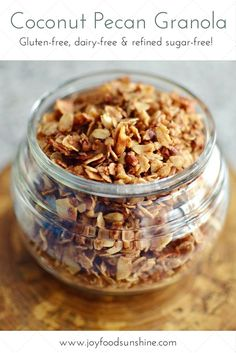 Healthy Coconut Pecan Granola! Oatmeal, shredded coconut, pecans, coconut oil, and honey all come together to make the best granola ever! Gluten-free, dairy-free, and refined-sugar free! A delicious and nutritious choice for breakfast!