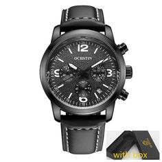 Men Watches Black Band Top Brand Sports Chronograph Military Male Dress Leather Belt Clock Hot Quartz Wrist Watch