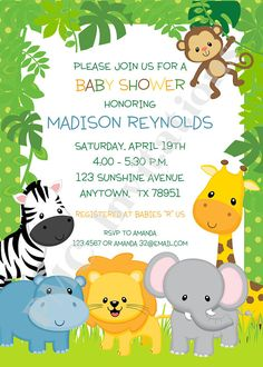 Custom Printed Wild Animals, Jungle, Safari Baby Shower Invitations - each with envelope - Welcome to our website, We hope you are satisfied with the content we offer. Safari Jungle, Safari Party, Jungle Party, Safari Theme, Shower Bebe, Baby Boy Shower, Jungle Theme Birthday, Baby Shower Invitations, Wild Animals