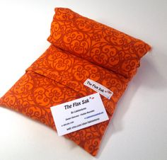 """MICROWAVE HEATING PAD, large Removable/Washable Flannel cover ,Orange scroll, Great Christmas Gift, 100% flax seed """"The FLaX SaK"""""""