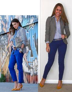 J's Everyday    #cobalt + #gray blazer    Blazer: Banana Republic  Shirt: Ralph Lauren outlet  Pants: American Eagle  Belt: Banana Republic  Shoes: Bandolino from TJ Maxx  Watch: Michael Kors