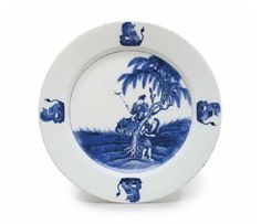 A blue and white armorial charger, Kangxi period
