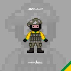 Counter Strike GO - Pixel Art CT Brasil by JackDSGN
