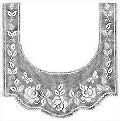 Crochet Edging And Borders Rose and Butterfly Lace Border Filet Crochet Pattern Crochet Patterns Filet, Crochet Curtain Pattern, Crochet Gloves Pattern, Crochet Yoke, Crochet Lace Edging, Crochet Curtains, Crochet Motifs, Crochet Collar, Crochet Diagram