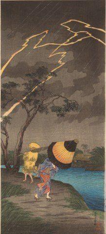 Shotei Takahashi Japanese Woodblock Print- Thunderstorm