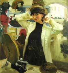 Vostrezova, Self portrait in a hat