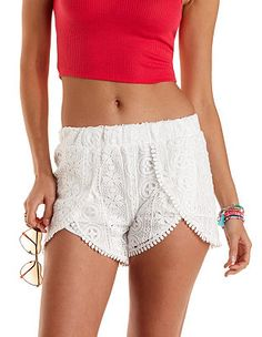 Crochet High-Waisted Tulip Shorts: Charlotte Russe