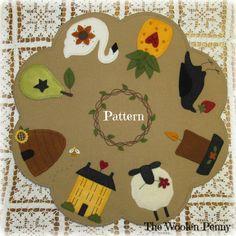 I Love Primitives Penny Rug Wool Applique Candle Mat PATTERN http://thewoolenpennyshop.blogspot.com/