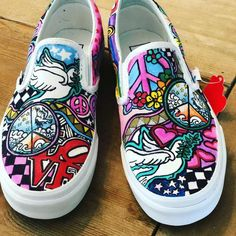 Peace, love, yoga, music inspired custom hand drawn, hand painted slip on Vans sneakers Lets create your own unique pair! Painted Canvas Shoes, Painted Sneakers, Hand Painted Shoes, Nick Shoes, On Shoes, Graffiti Shoes, Vans Shoes Fashion, Custom Vans Shoes, Girls Football Boots